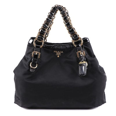Prada Double Chain Black Tessuto Nylon Tote with Patent Leather Trim