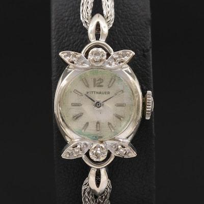 Wittnauer 14K Gold and Diamond Stem Wind Wristwatch