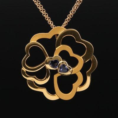 Carrera y Carrera 18K Gold Iolite Heart Motif Necklace
