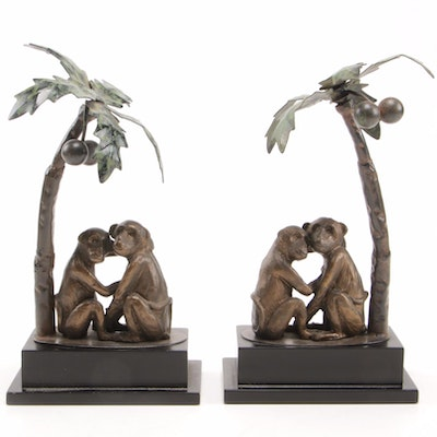 """Romantic Monkeys"" Under Palm Trees Cast Figures, Mid to Late 20th Century"