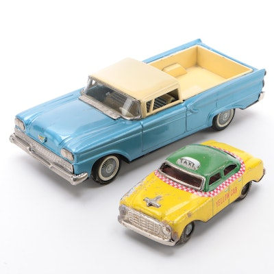 "Ford Friction Toy Ranchero with a ""Yellow Cab"" Taxi Vehicles"