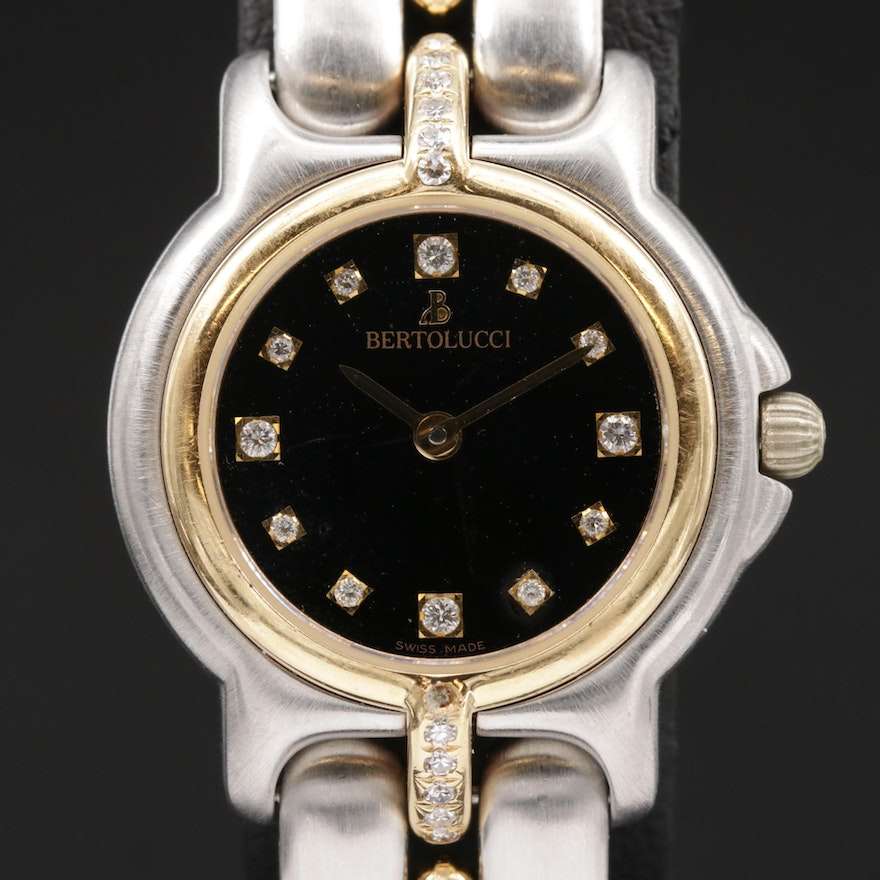 Bertolucci Pulchra 18K Gold and Stainless Steel Diamond Accented Wristwatch