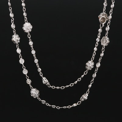 Platinum 7.55 CTW Diamond Floral Station Necklace