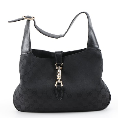 Gucci New Jackie Black GG Canvas and Leather Piston Lock Hobo Bag