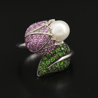 Sterling Pearl, Pink Sapphire and Diopside Flower Bypass Ring
