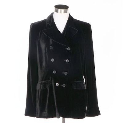 Lauren Ralph Lauren Black Velvet Double-Breasted Jacket