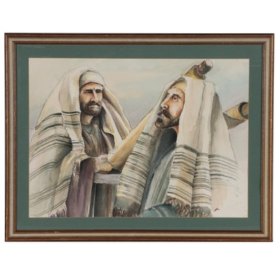 Religious Ceremony with Shepards Watercolor Painting, 1979
