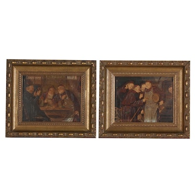 Pair of Embellished Prints of a Medieval Tavern Scene