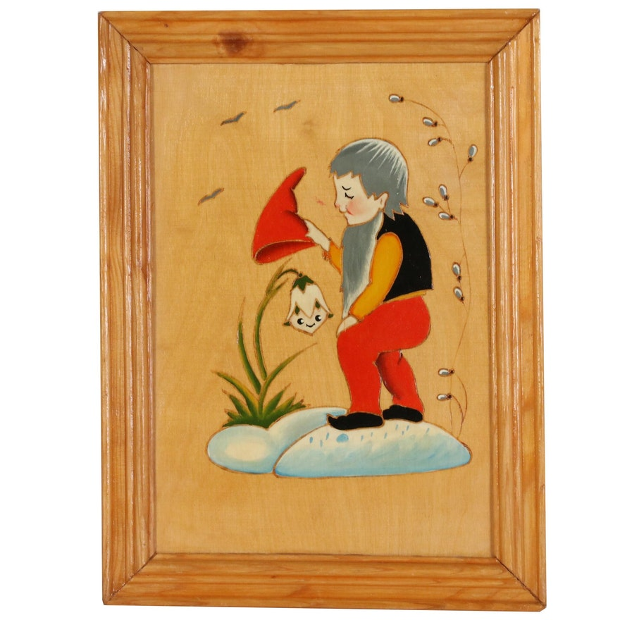 Oil Painted and Carved Wood with Gnome and Flower