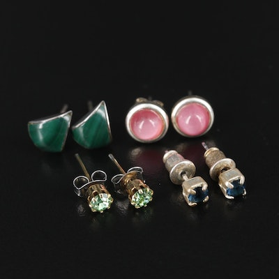 Collection of Stud Earrings with Malachite and Rhinestone