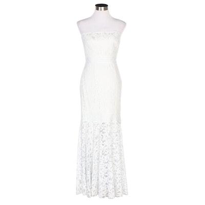 Tadashi Shoji Strapless White Lace Gown with Mermaid Hem