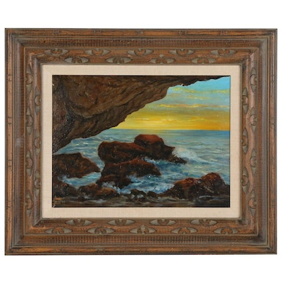 Sunset Seascape Oil Painting, 1977