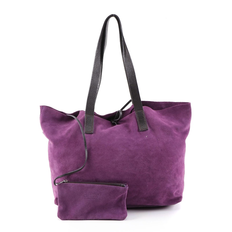 Basta Italian Purple Suede and Black Leather Tote with Accessory Pouch