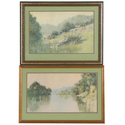 "Pair of Prints after Paul Sawyier ""Summertime"", and ""Macy's Kentucky River"""