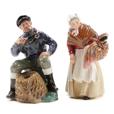 "Royal Doulton ""Grandma"" and ""The Lobster Man"" China Figurines"