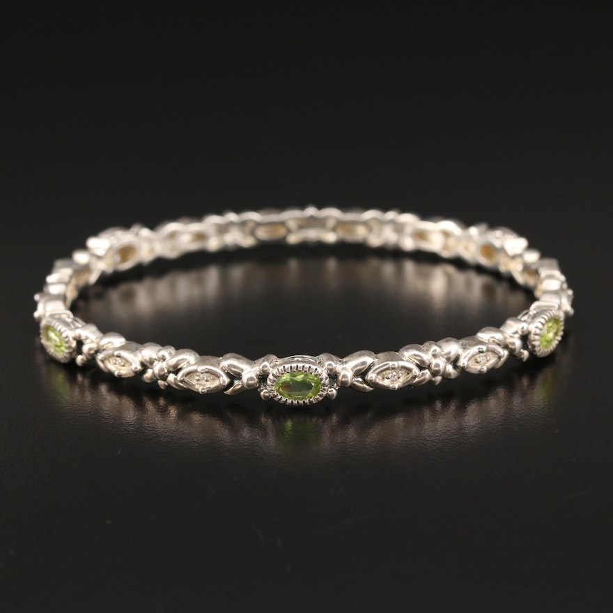Sterling Silver Peridot and Cubic Zirconia Bangle Bracelet