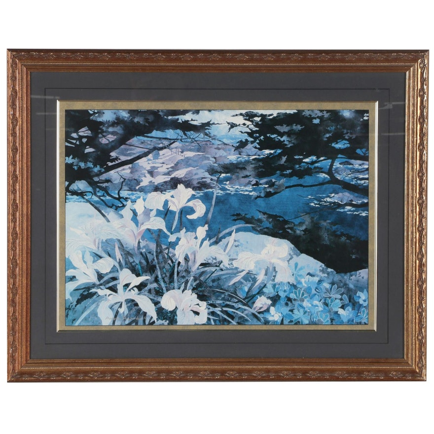 Offset Lithograph of Lilies in Blue after Amanda Richardson