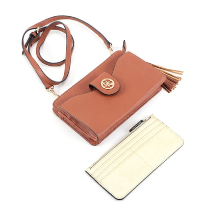 Guess Convertible Tassel Clutch with Removable Metallic Gold Card Wallet