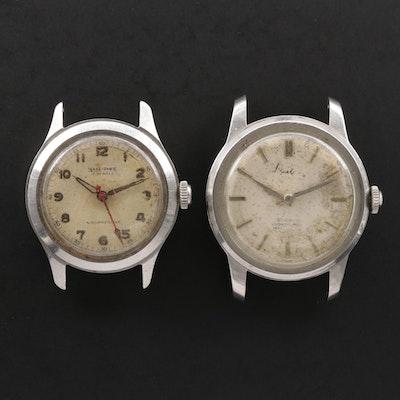 Vintage Hallmark and Wakmann Stainless Steel Stem Wind Watches