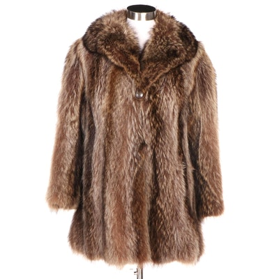 Raccoon Fur Coat with Shawl Collar