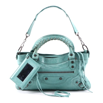 Balenciaga Classic First Two-Way Handbag in Turquoise Blue Lambskin Leather
