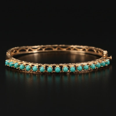 Vintage 10K Gold Imitation Turquoise Oval Hinged Bangle Bracelet