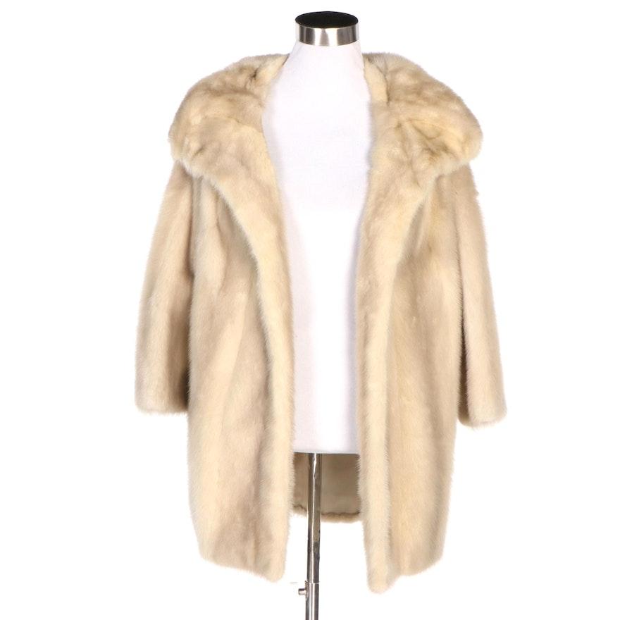 Tourmaline Mink Fur Coat with Shawl Collar, Vintage