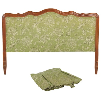 French Provincial Style Sage Upholstered Queen Size Headboard with Bed Skirt