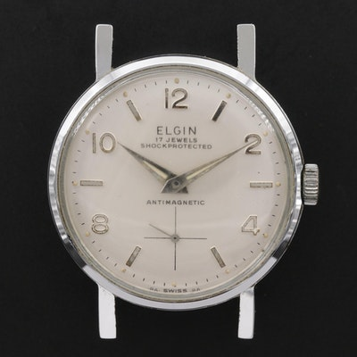 Vintage Elgin Silver Tone Stem Wind Watch