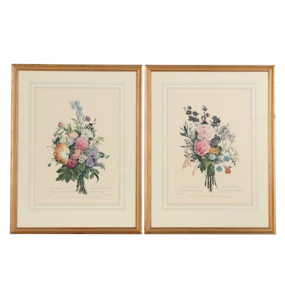 Louis Charles Ruotte Restrike Color Engravings of Floral Bouquets