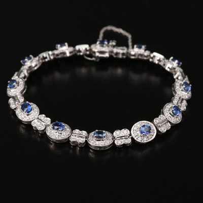 18K White Gold Sapphire and 1.46 CTW Diamond Bracelet
