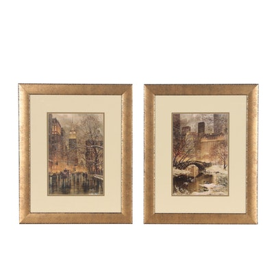 "Pair of Giclee Prints after Roustam Nour ""Fifth Avenue"" and ""West Central Park"""
