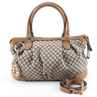 Gucci Diamante Canvas and Light Brown Leather Two-Way Handbag