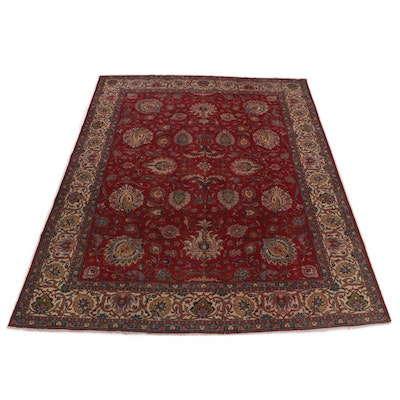 9'7 x 12'5 Hand-Knotted Persian Tabriz Room Size Rug, 1950s