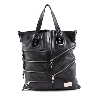D&G Dolce & Gabbana Black Leather Motorcycle Style Tote with Zip Pockets