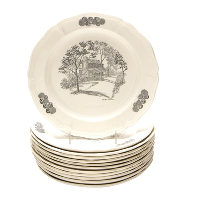 "Limited Edition Wedgwood ""Scenes of Cincinnati"" Transferware Dinner Plates"