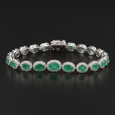 18K Gold 7.52 CTW Emerald and 2.42 CTW Diamond Line Bracelet