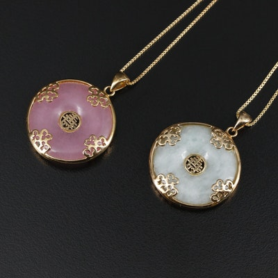 Sterling Silver Jadeite and Quartzite Pendant on Box Chain Necklaces