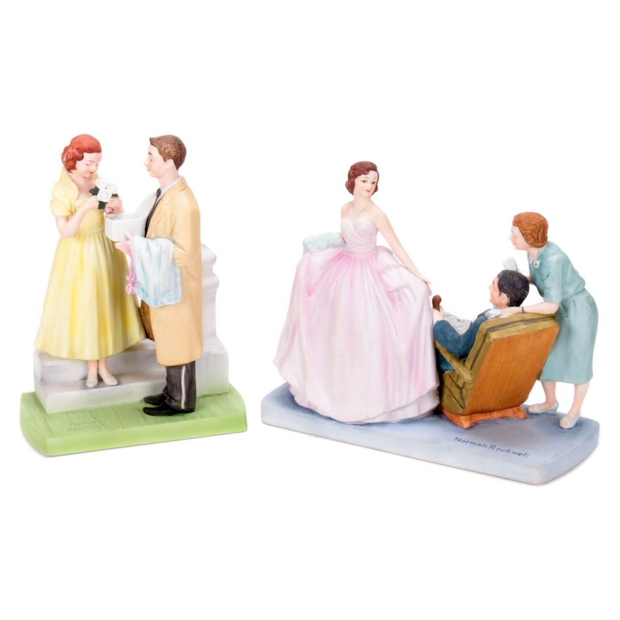 "Norman Rockwell ""First Prom"" and ""Sweet Sixteen"" Bisque Porcelain Figurines"