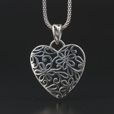 Sterling Silver Floral Heart Necklace