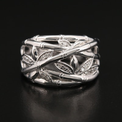 Sterling Silver Diamond Bamboo Motif Ring