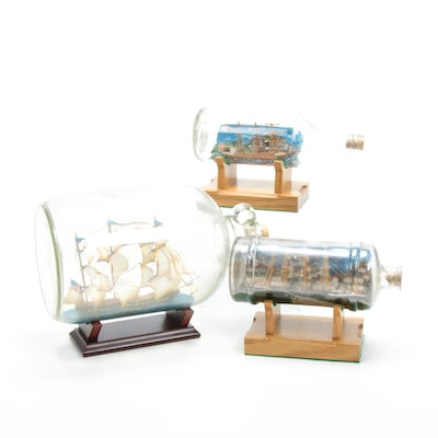Ships in Bottles Including U.S.S. Constitution, Mid to Late 20th Century