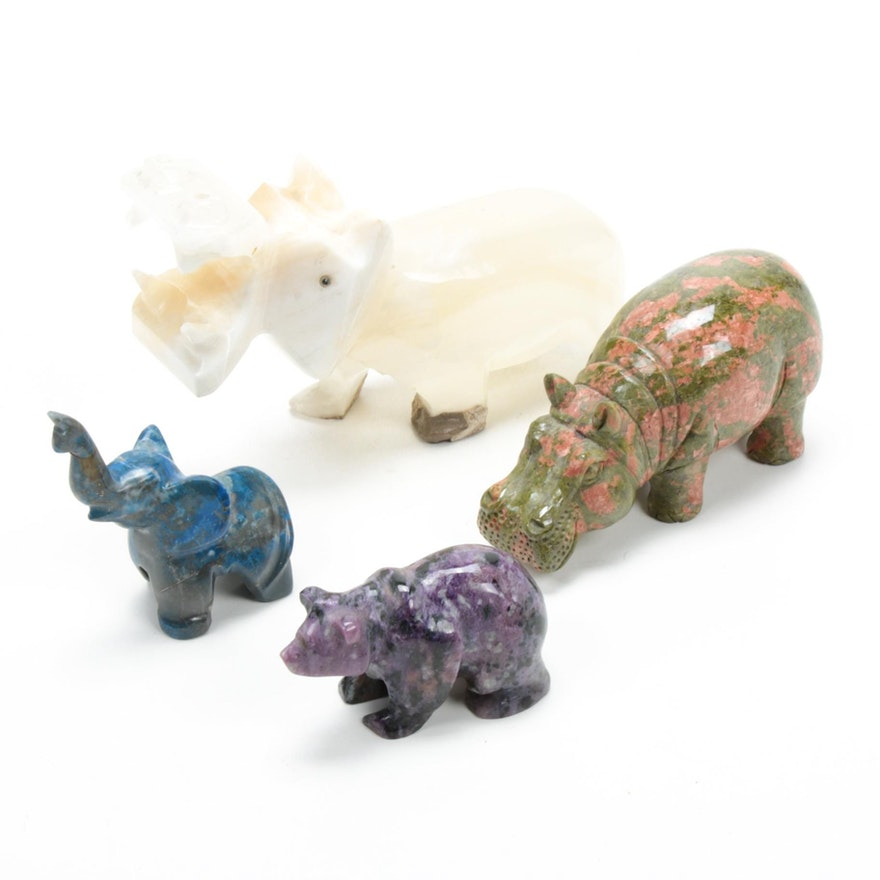 Unakite, Banded Calcite and Other Carved Mineral Animal Figurines