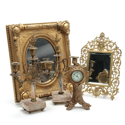 New Haven Art Nouveau Clock with Mirrors and Candelabras, Late 19th/Early 20th C