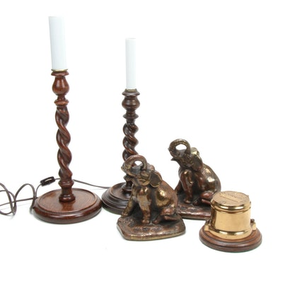 Barley Twist Candlestick Lamps, Elephant Bookends and Brass Water Meter Box