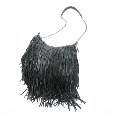 Lost & Found Fringed Black Leather Bohemian Hobo Shoulder Bag with Chain Strap