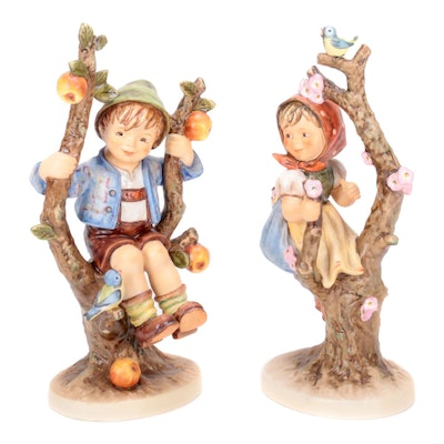 "Goebel M.I. Hummel ""Apple Tree Girl "" and ""Apple Tree Boy"" Porcelain Figurines"