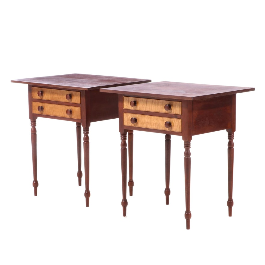 Two A.D. Seaton American Primitive Style Cherrywood and Tiger Maple Side Tables