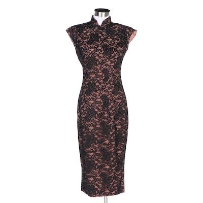 Norma Kamali Chinoiserie Style Black Lace Silk Lined Dress