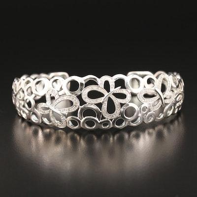 Fine Silver Diamond Butterfly Openwork Cuff Bracelet